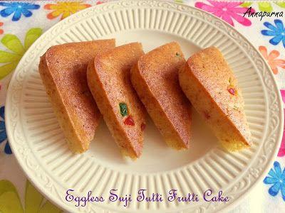 Eggless suji cake