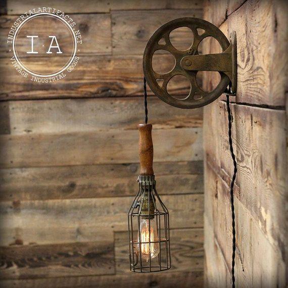 Vintage industriel en fonte poulie fil Cage mal lampe murale Mont