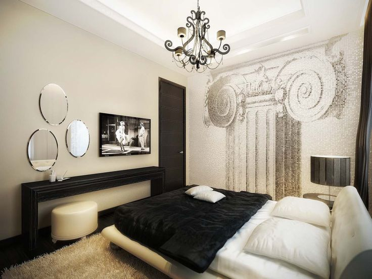 Apartments. Fascinating Apartment Bedroom Decor With Black White Bed Upper  Beige Fur Rug