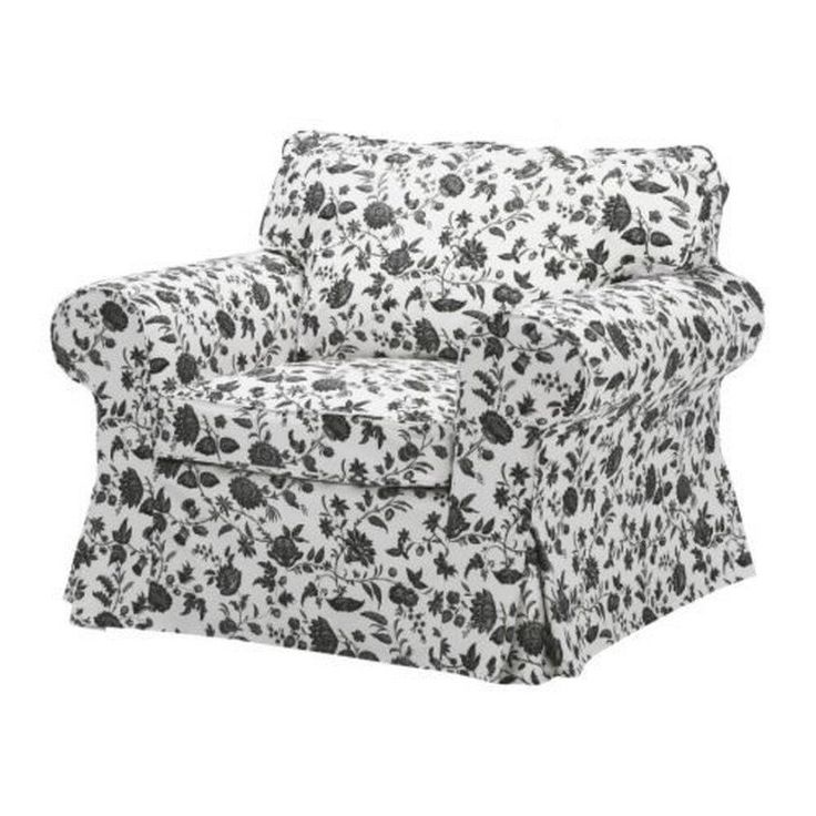 IKEA EKTORP Armchair Cover Slipcover Hovby White Black Floral & pillow cover #IKEA