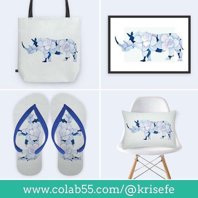 Minhas artes disponíveis como posters canecas camisetas capinhas de celular e muito mais você encontra aqui: http://ift.tt/1NIDTpH #rinoceronte #aquarela #suculenta #colab55 #bolsa #quadro #poster #almofada #decor #chinelo #arte #ilustração