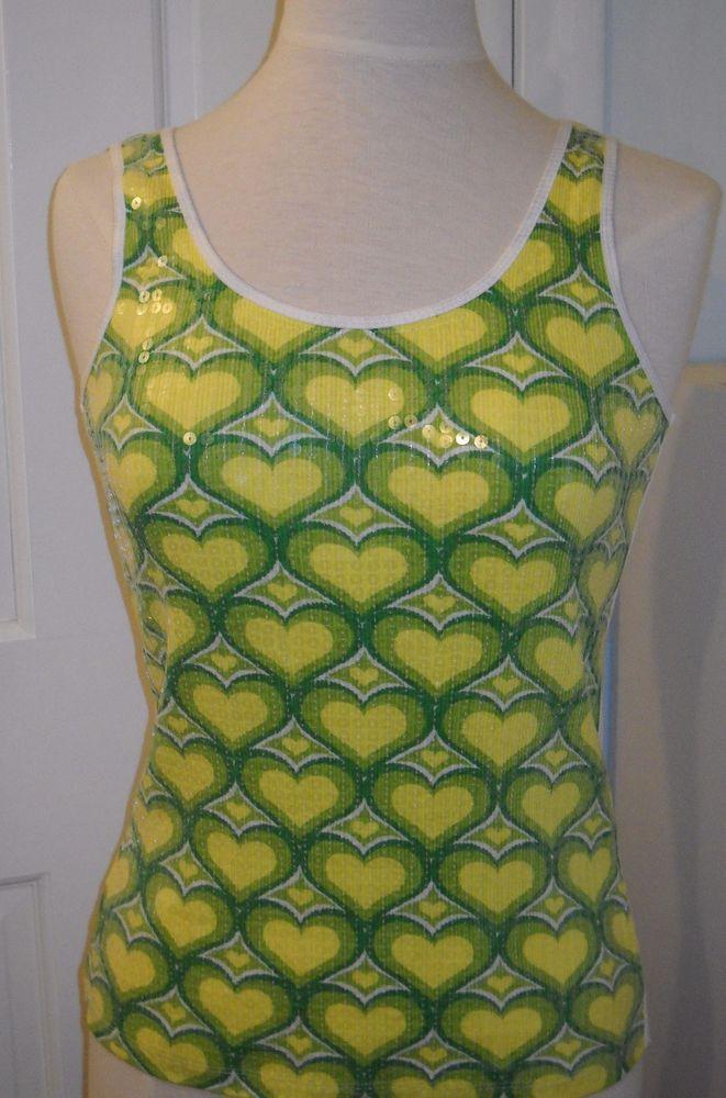 COOL ATTITUDE Sequin Heart Emoji Yellow Green White Cotton T SHIRT Tank TOP~L #CoolAttitude #TankCami #Casual