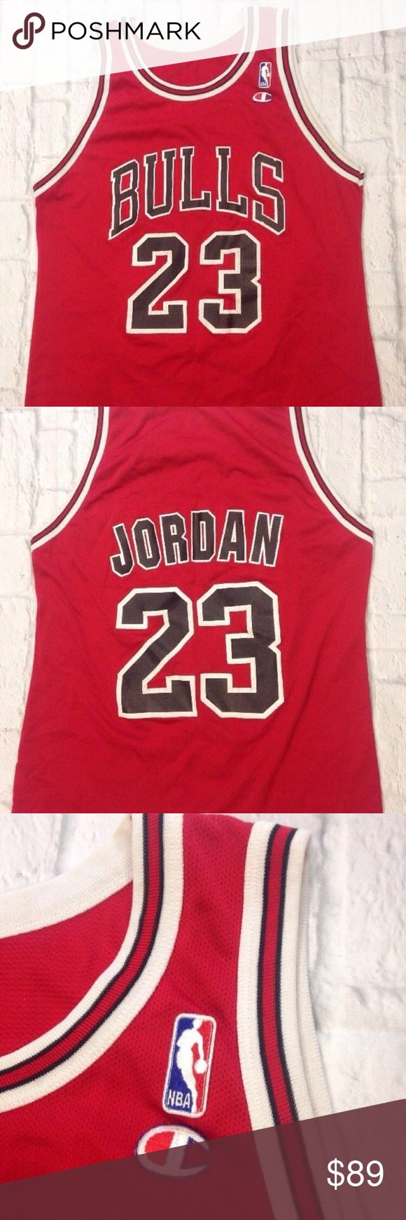 90'S CHICAGO BULLS MICHAEL JORDAN CHAMPION JERSEY VINTAGE 90'S CHICAGO BULLS MICHAEL JORDAN CHAMPION JERSEY  NO SIZE TAG ( FITS 42) PIT TO PIT = 21'' LENGHT=26''  THERE IS SOME SLIGHT WEAR ON THE SCREEN PRINT NO HOLES , TINY DARKER SPOT ON THE LOWER BACK. MIGHT COME OUT WITH PROPER TREATMENT. I DID NOT TRY  SEE PICTURES FOR DETAILS Champion Shirts Tank Tops