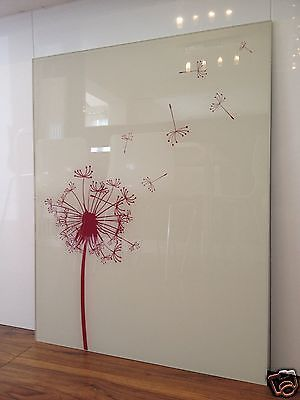 How cute!!! Dandelion Designer Glass Splashback 600mmx750 mm Oyster White and Deep Red