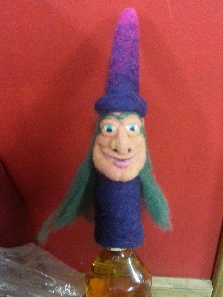 Handmade bottle topper gnome