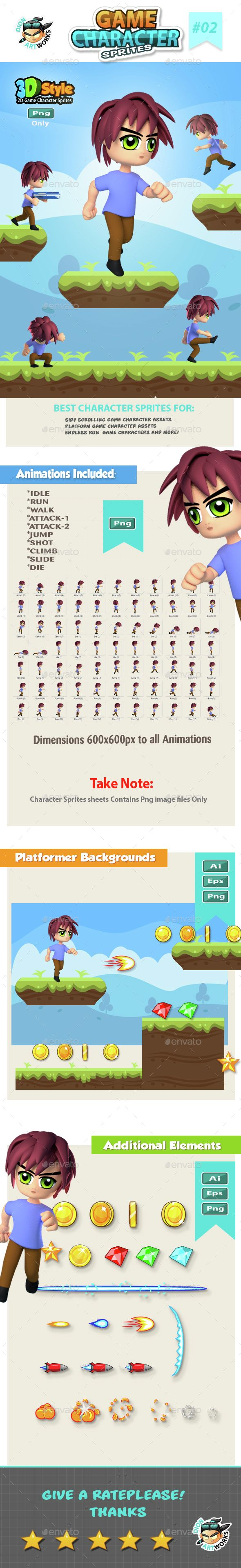 3D Style #Game Character Sprite sheets 02 - #Sprites Game #Assets Download here: https://graphicriver.net/item/3d-style-game-character-sprite-sheets-02/14757597?ref=alena994