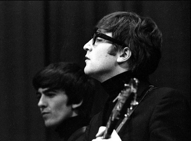 The Beatles recording the 1963 Christmas edition of Saturday Club at the Playhouse Theatre in London on 17th December 1963. The Beatles performed six songs plus a 'Chrimble Medley', comprising Love Me Do, Please Please Me, From Me To You, She Loves You, I Want To Hold Your Hand, and Rudolph The Red-Nosed Reindeer, which lasted just 29 seconds.