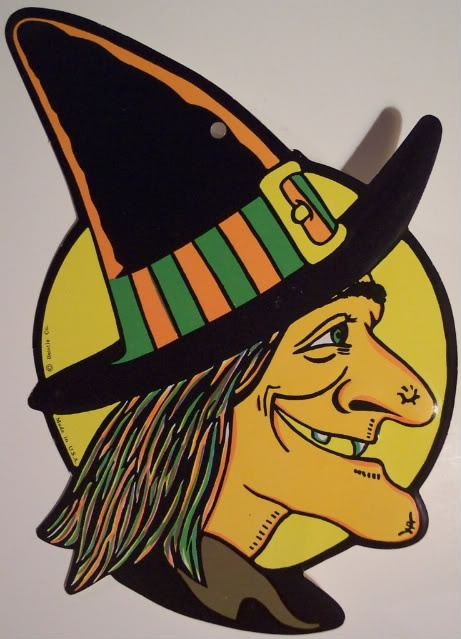 witch with big wart on nose vintage beistle halloween decoration - Halloween Witch Decorations
