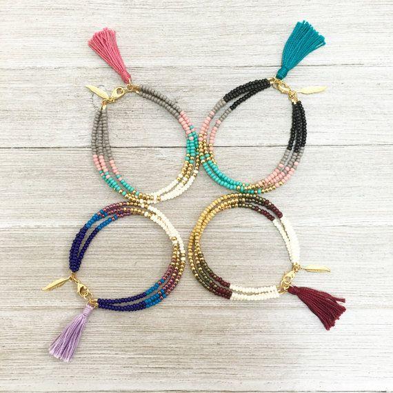 Gold beaded tassel bracelet Boho friendship by LayeredAndLush