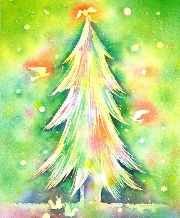 ハンドメイドクリスマス2014森のクリスマス水彩画で制作した、クリスマスのためのイラストです。柔らかい緑色の森の中にみんなのもみの木に集まってクリスマスの準備...|ハンドメイド、手作り、手仕事品の通販・販売・購入ならCreema。