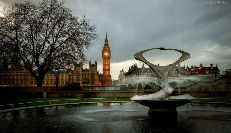 Fontanna, Big Ben, Londyn, Anglia