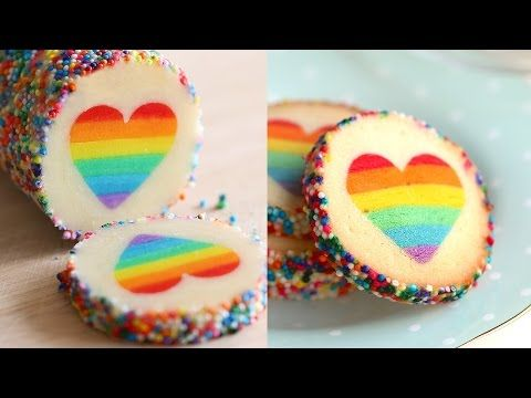 """been looking for a good rainbow cookie tutorial, and HERE IT IS. matches her mille feuille which I wanna try too!  무지개 하트 쿠키 Rainbow Heart Cookies """"유지니 쿠키 Eugenie Cookies"""" - YouTube"""