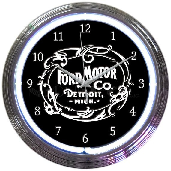 Neon Clocks Ford Motor Co Detroit Neon Clock 15 Ford Signs Gifts For Him Gifts For Dad Car Guy Gifts Ford Auto Detroit In 2020 Neon Clock Ford Motor Company Ford