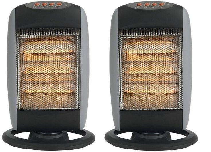 2 X Oscillating Halogen Portable Electric Heater 400/800/1200W Free Standing