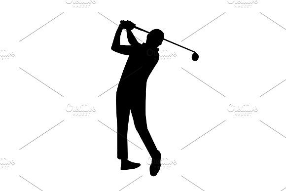 vector of silhouette golfer by charnsitr on @creativemarket