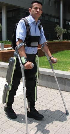 Medical exoskeliton allows paralyzed man to walk again.