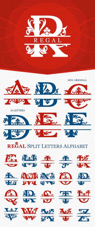 A bis Z Regal Split Monogramm Alphabet, bereit zum Ausschneiden (SVG DXF EPS Studio3) Royal Datei für Silhouette Studio, Cricut und andere Schneidemaschinen