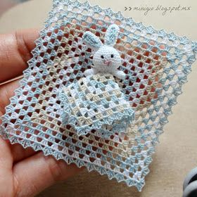 Miniature crochet bunny for dollhouse