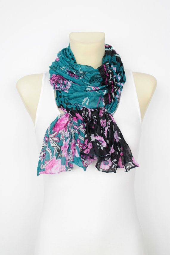 Hey, I found this really awesome Etsy listing at https://www.etsy.com/listing/199633140/sale-floral-fashion-scarf-blue-polka-dot