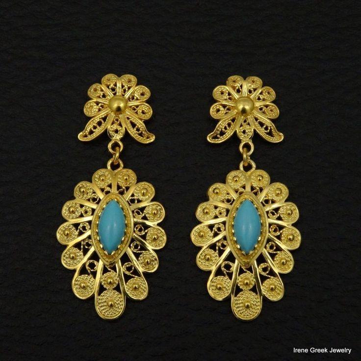 BIG RARE TURQUOISE FILIGREE 925 STERLING SILVER 22K GOLD PLATED GREEK EARRINGS #IreneGreekJewelry #DropDangle