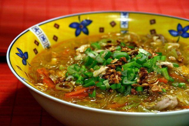 Filipino Recipe Chicken Sotanghon Soup (also known as Chicken with Long Rice in Hawaii)