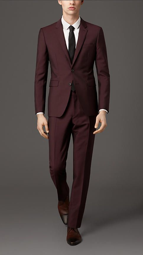 Burberry London Claret Slim Fit Wool Mohair Suit - A slim fit suit with a short, closely fitted jacket and narrow tapered trousers in a rich blend of wool and mohair. Inspired by traditional tailoring, the suit is finished with sartorial pick-stitch detailing. Discover men's tailoring at Burberry.com