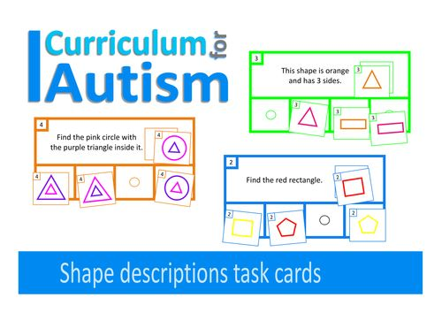 Autism, Find The Shape, 30 Visual Thinking Task Cards, ABA, Special Education