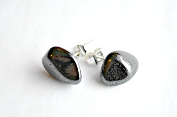 Hematite Crystal Stud Earrings Silver Surgical by IndigoLizard