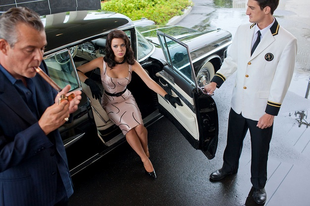 "Danny Huston as Ben Diamond and Jessica Marais as Lily Diamond in ""Magic City.""Starz Entertainment"