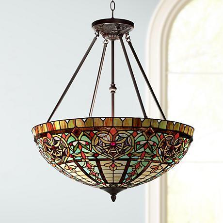 """Corazon Bronze 25"""" Wide Robert Louis Tiffany Pendant Light"""