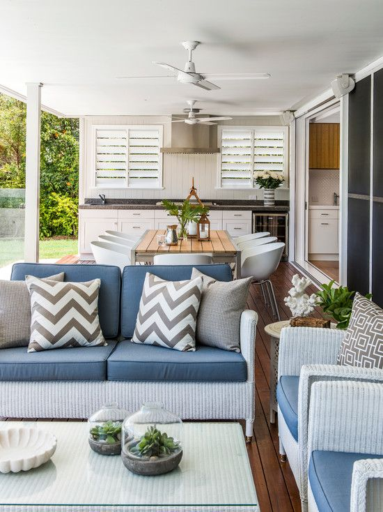 Extend your living space with a functional outdoor area. Seating grouped for conversation and a dining table with chairs will be used as long as the weather allows. If you have he extra room and budget, an outdoor kitchen or prep area is a great bonus feature.