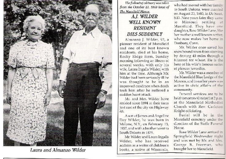 Obituary of Almanzo Wilder.