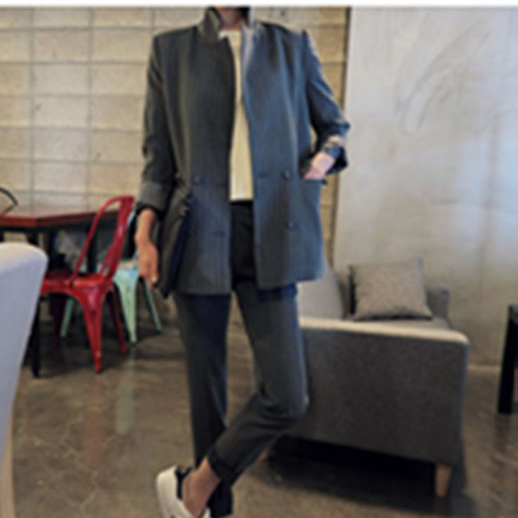 Black Gray Pantsuit Women's Suits With Pants 2016 Striped Details Office Uniform Women Trouser Suit Women Evening Pant Suits