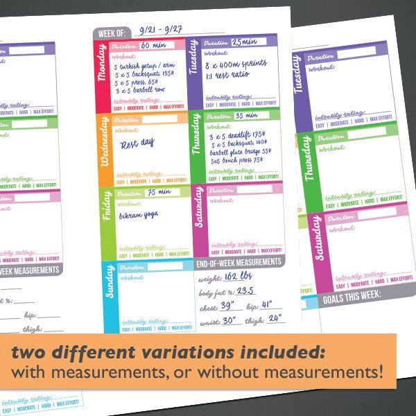 Printable Food Fitness Diary Journal Trackers Digital PDF