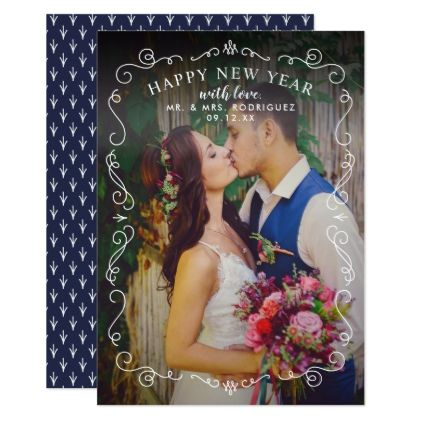Happy New Year Photo Card | Elegant Frame - wedding invitations diy cyo special idea personalize card