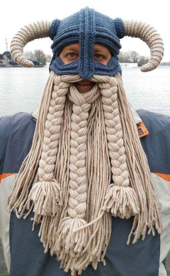 Crochet Viking hat and balaclava with braided beard