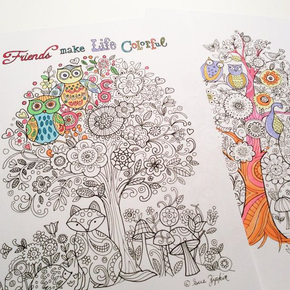 Sue Zipkin Printable Set Of 2 Tree Life Coloring Book Pages Pdf