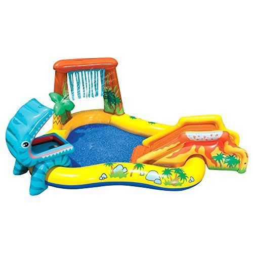 Intex Dinosaur Play Centre - 57444 by Intex   Approximate inflated size 249cm x 191cm x 109cm;Pool includes slide, water sprayer and Read  more http://shopkids.ca/intex-dinosaur-play-centre-57444-by-intex/
