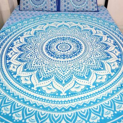 Indian Mandala Ombre Blue White Bohemian Boho Large Throw