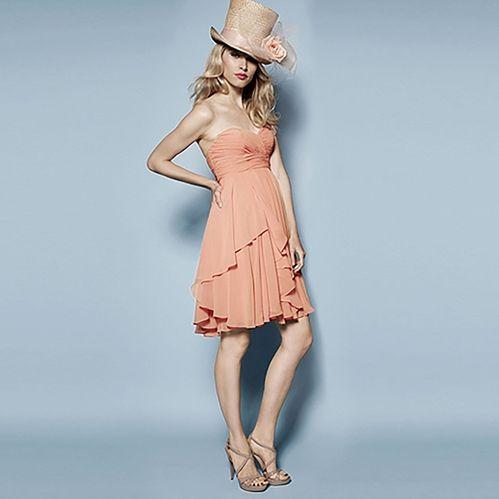 ブライズメイド・クリンクルシフォン・コーラルベアドレス。サンセットに映えるコーラルピンクのブライズメイドドレス。 #Bridesmaid #Dress #Pink #Wedding