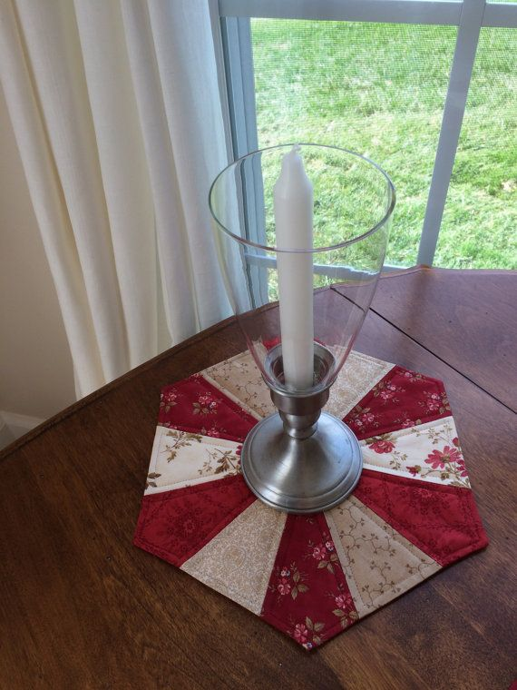 Dresden Plate Beige & Red Quilted Hexagon Table Topper by seaquilt