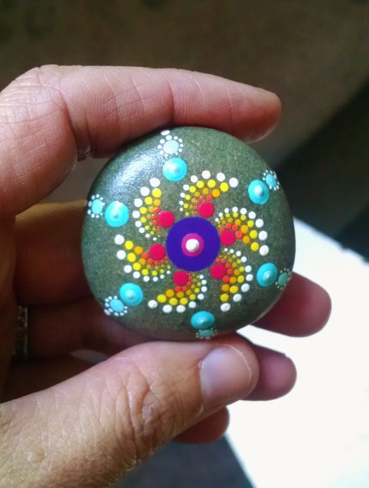 Spiral Mandala Stone Colorful Dot Art Painted by P4MirandaPitrone