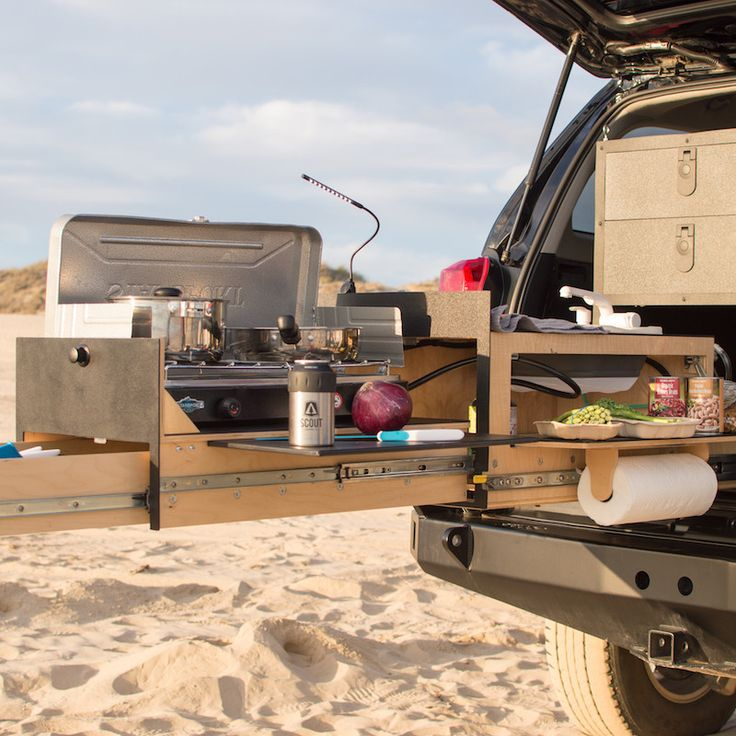 For those car campers that want a fully equiped ktichen in an easy layour.  The Scout Overland Kitchen