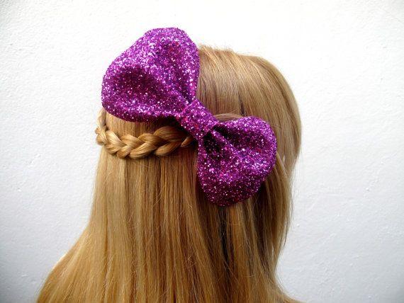 Big Lola Bow // Fushia Glitter Hair Bow  // Ready by hellobettybow