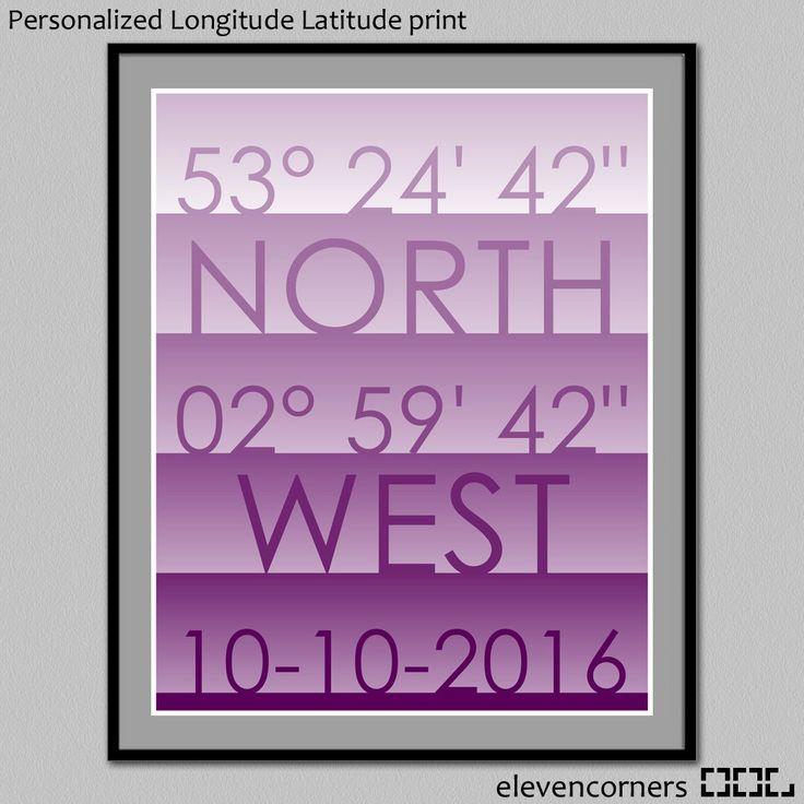 Personalized longitude latitude print | custom travel print | housewarming gift | new home gift | GPS coordinates print | wedding poster by elevencorners on Etsy #elevencorners