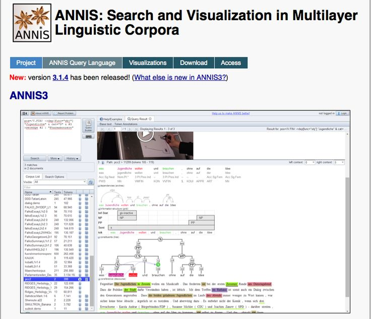 "ANNIS-ANNIS is an open source, cross platform (Linux, Mac, Windows), web browser-based search and visualization architecture for complex multilayer linguistic corpora with diverse types of annotation. ANNIS, which stands for ANNotation of Information Structure, has been designed to provide access to the data of the SFB 632 - ""Information Structure: The Linguistic Means for Structuring Utterances, Sentences and Texts"". http://www.sfb632.uni-potsdam.de/annis/"