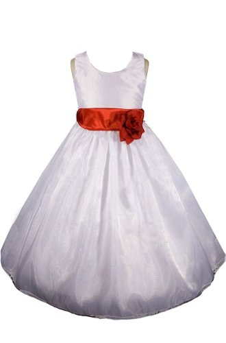 AMJ Dresses Inc White/red Flower Girl Wedding « Dress Adds Everyday