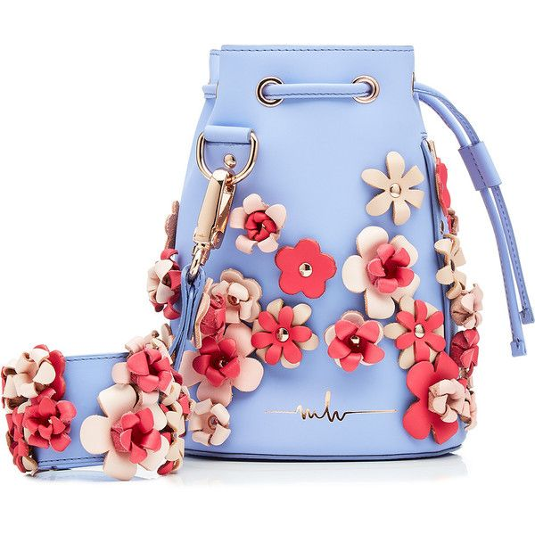 Marina Hoermanseder Embellished Leather Drawstring Bag ($779) ❤ liked on Polyvore featuring bags, handbags, blue, genuine leather handbags, drawstring tote bags, drawstring bag, leather tote bags and blue leather handbags