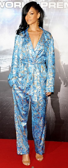 The fashion-forward singer chose a pajama-inspired  blue and gold Emilio Pucci look for the world premiere of Battleship in Tokyo, Japan