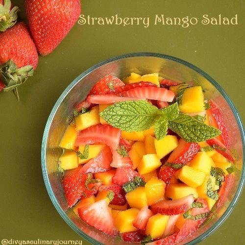 Divya's culinary journey: #Strawberry #Mango #Salad: Fruit, Honey Dressing, Food, Strawberries, Orange Honey, Mango Salad, Dessert